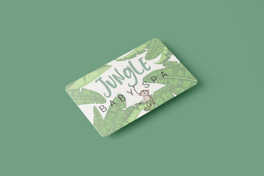 Baby Jungle Spa Cadeau Kaartje Wit Mock Up